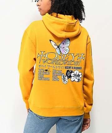 Obey Butterfly sudadera con capucha amarilla