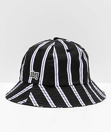 Obey Carmal Striped Black, White & Lavender Bucket Hat