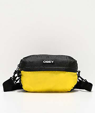 Obey Commuter Traveler Black & Yellow Shoulder Bag