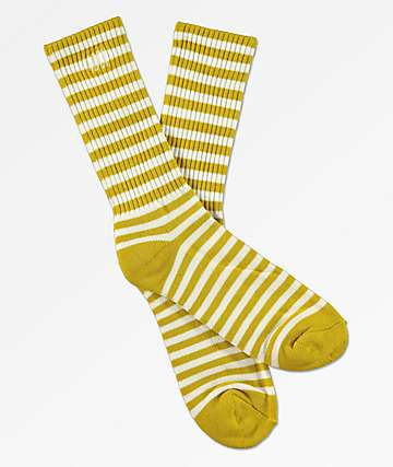 Obey Dale Golden Olive & White Striped Crew Socks