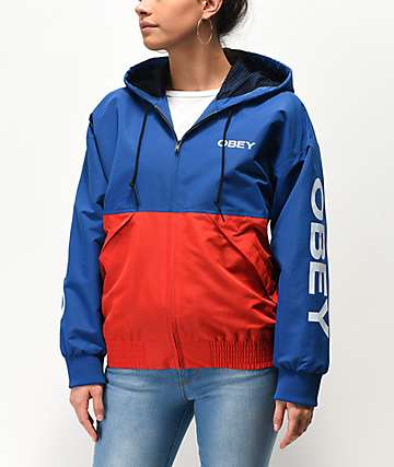 Obey Drop Shoulder Red & Blue Windbreaker Jacket
