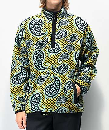 Obey Eisley Gold & Green Mock Neck Fleece Sweatshirt