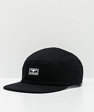 Obey Eyes Black 5 Panel Strapback Hat