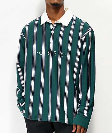 Obey Firm Classic Teal Stripe Long Sleeve Polo Shirt