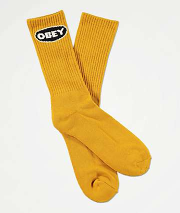 Obey Galleria Energy Yellow Crew Socks