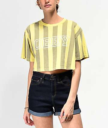 Obey Gig Acid Yellow Striped Crop T-Shirt