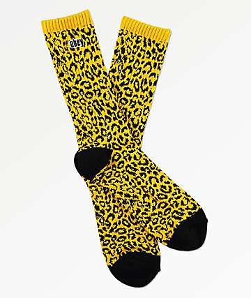 Obey Leopard Energy Yellow Crew Socks