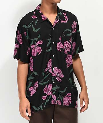 Obey Lily Black Woven Short Sleeve Button Up Shirt