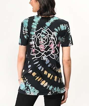 Obey Mira Rosa Black, Purple, Teal & Gold Tie Dye T-Shirt
