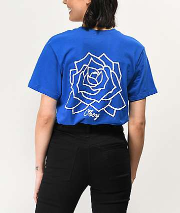 Obey Flower Power Box T Shirt Royal Blue