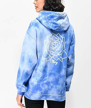 Obey Mira Rosa sudadera con capucha de tie dye azul