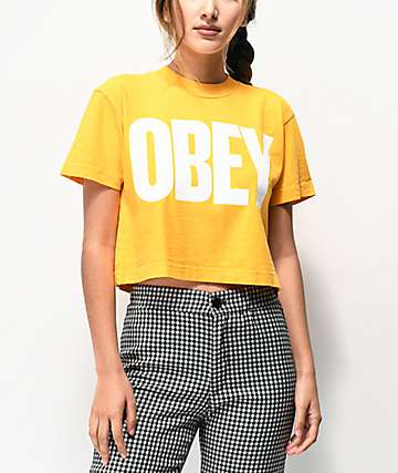 Obey Mom Jeans Mango Mock Neck Crop T-Shirt