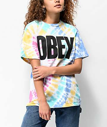 Obey Mom Jeans Rainbow Tie Dye T-Shirt