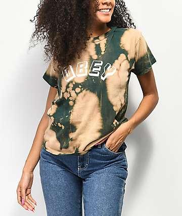 Obey New World Box Bleached Dark Green T-Shirt