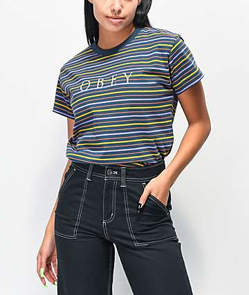 Obey Novel Box Navy, Purple & Gold Stripe T-Shirt