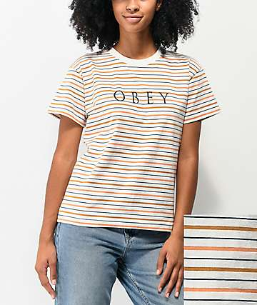 Obey Novel Box White, Navy & Coral Stripe T-Shirt