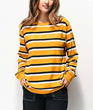 Obey Novel Gold, Black & White Stripe Long Sleeve T-Shirt