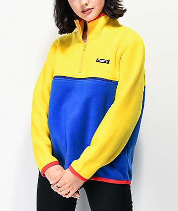 Obey Odyssey Blue & Yellow Quarter Zip Polar Fleece Sweatshirt