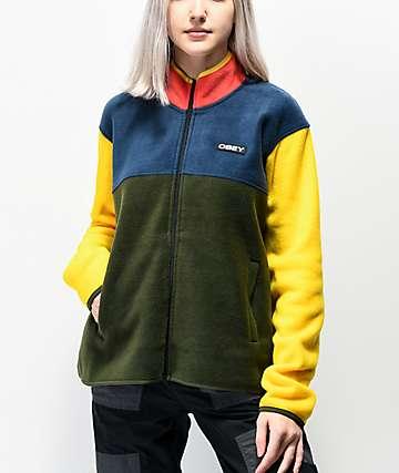 Obey Odyssey Navy, Green & Yellow Colorblock Tech Fleece Sweatshirt