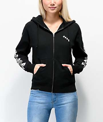 Obey Old Rose Black Zip Up Hoodie