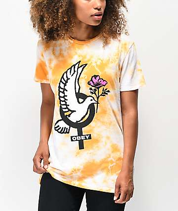 Obey Peace Dove Gold Tie Dye T-Shirt