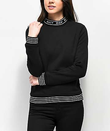 Obey Quincy Black Mock Neck Sweatshirt