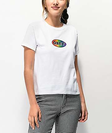 Obey Rainbow Decal White T-Shirt