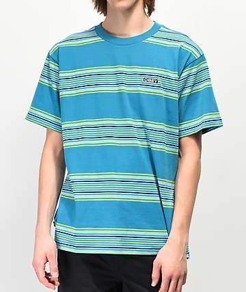 Obey Route Striped Teal T-Shirt