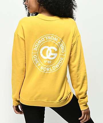 Obey Rue de La Ruine Delancy Yellow Crew Neck Sweatshirt