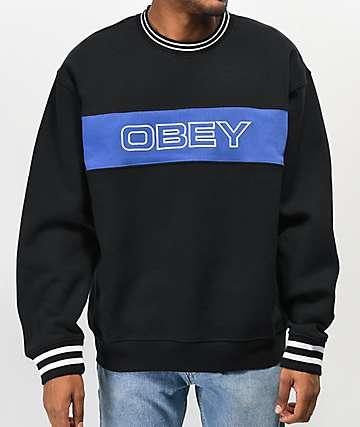 Obey Stand Black & Blue Crew Neck Sweatshirt