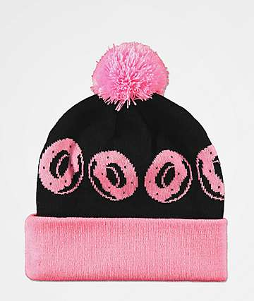 Odd Future Allover Donuts Pink & Black Pom Beanie