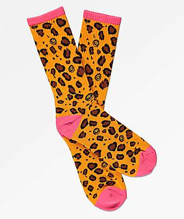 Odd Future Allover Leopard Print Hot Pink Crew Socks