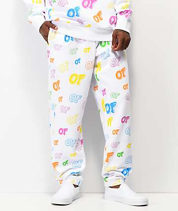 Odd Future Allover Logo White Sweatpants