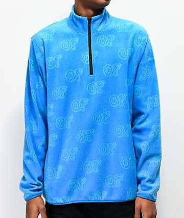Odd Future Allover OF Print Light Blue Fleece Jacket