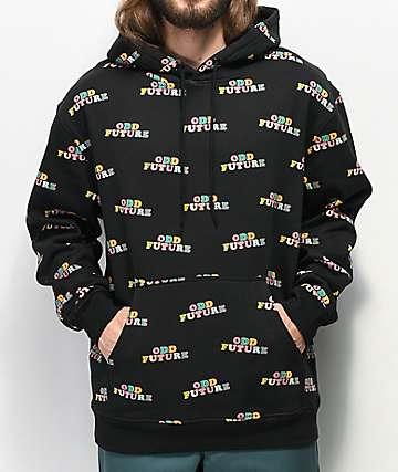 Odd Future Allover Print Black Hoodie