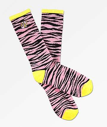 Odd Future Allover Zebra calcetines negras y rosas