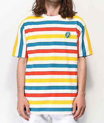 Odd Future Big Stripe White, Orange, Yellow and Blue T-Shirt