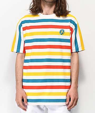 Odd Future Big Stripe camiseta blanca, naranja, amarilla y azul
