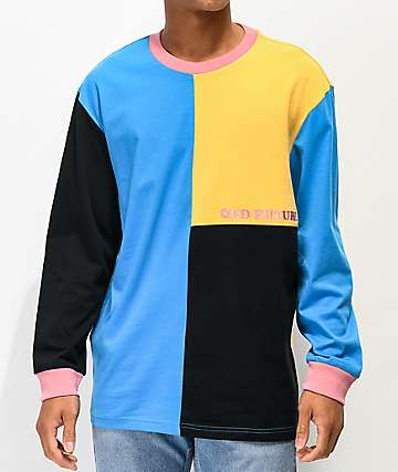 Odd Future Blue, Black & Yellow Colorblock Long Sleeve T-Shirt