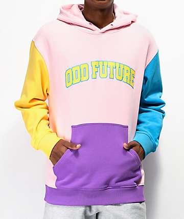 Odd Future Collegiate sudadera con capucha rosa, azul y amarilla