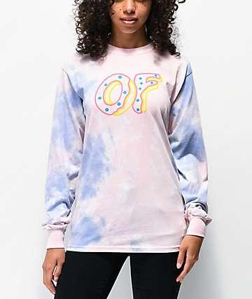 Odd Future Coral & Blue Tie Dye Long Sleeve T-Shirt