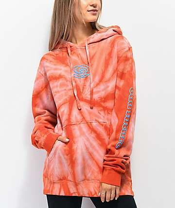 Odd Future Cyclone sudadera con capucha tie dye anaranjada