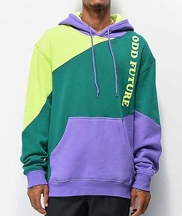 Odd Future Diagonal Mint, Purple & Green Colorblock Hoodie