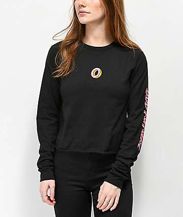 Odd Future Donut Black Crop Long Sleeve T-Shirt