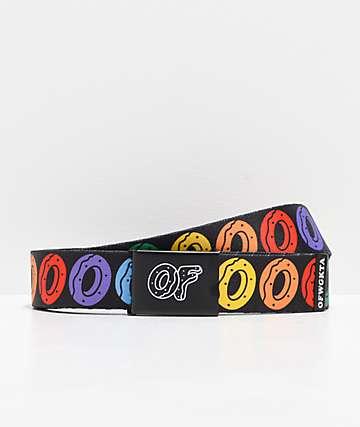 Odd Future Donut cinturón tejido negro y arcoíris