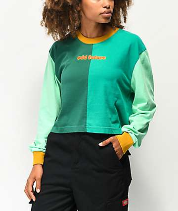 Odd Future Green Colorblock Crop Long Sleeve T-Shirt