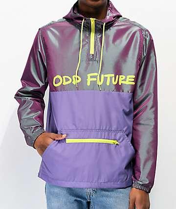 Odd Future Iridescent Purple & Black Anorak Windbreaker Jacket