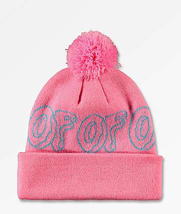 Odd Future Logo Pink & Turquoise Pom Beanie