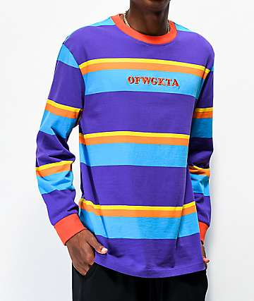 Odd Future Multi Stripe Purple Long Sleeve Knit T-Shirt