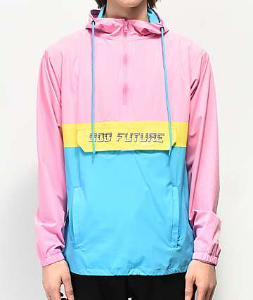 Odd Future Neon Colorblock Pink, Yellow & Blue Anorak Jacket
